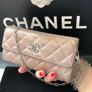 CHANEL Light Rose Metallic CC Logo Wallet On Chain